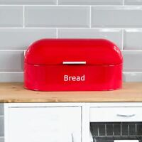 Retro Bread Bin Red Steel Kitchen Top Storage Loaf Box Tin New By Home Discount