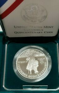 1992-P Christopher Columbus Commemorative Dollar Proof Coin in US Mint Box & COA