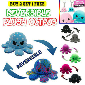 HOT!!! Octopus Reversible Plush Toy Double Sided Mood Flip Stuffed Doll Plushie