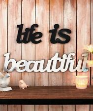 Wooden & Mirror Wall Decor Life Is Beautiful Sentiment Acrylic Mirror Wall Art