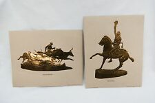 Vintage 1977 Frederic Remington The Scalp and The Stampede Foil Etch Print Set