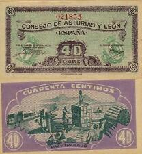 40 Céntimos. Consejo de Asturias y León. Sin serie. Nº 021855. Tamaño 92x45 mm.
