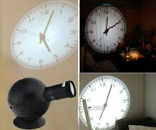 LED Analogue Projection Wall Clock Cold Light Beam Virtual Shadow Bedroom Black
