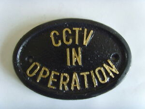 CCTV IN OPERATION SECURITY HOUSE SIGN BUSINESS PLAQUE