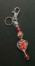 Purse Charm Red Heart Jewelry Glass Bead Silver Plated Ring Crystal Key Chain