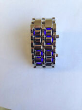 LED Wrist Watch Metal Faceless Bracelet Black & Silver Ships from USA