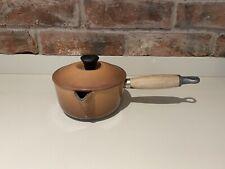 Vintage Le Creuset Hazlenut Brown Pan Cast Iron Saucepan Size 14cm Wooden Handle