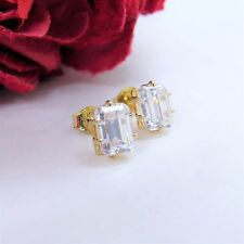 Yellow Gold Plated Pair Of Emerald Cut White Topaz Stud Earrings