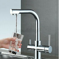 Dual Handle Chrome Brass 3 Way Swivel Kitchen Sink Faucet Basin Mixer Taps