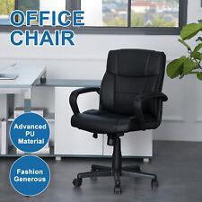 Black Pu Leather High Back Office Chair Executive Task Ergonomic Computer Desk
