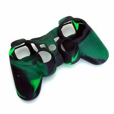 Skin Cover Protective Silicone Case for PS2 PS3 Controller -Dark-Green +Bla L1P2