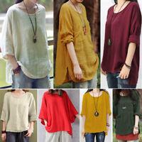 Plus Size Women Vintage Cotton Linen Kaftan Ladies Baggy Blouse T Shirt Tops US