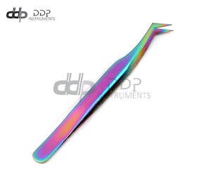 DDP New 3D Eyelash Extension Tweezers Semi Angled Multi Rainbow Color