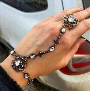 Antique Gold Turkish Bracelet Link Ring for Women Vintage Wedding Party Gift