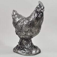 Chicken Antique Silver Ornament Statue Sculpture H18.5cm Safari Gift 41075