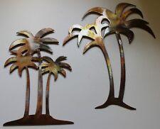 Palm Tree Set Large Pair Metal Wall Art Decor