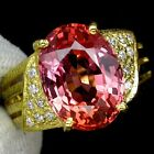 _LDN_ Bague Saphirs Padparadscha 12.6x10_Argent 925 + plaque or 14 ct_T53_Ref 1