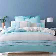 King Bed Ava Blue Beige Teal White Stripe Quilt / Doona Cover & Pillow Set