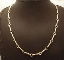 """18"""" Diamond Cut Barrel & Circle Link Chain Necklace Real 10K Yellow Gold"""
