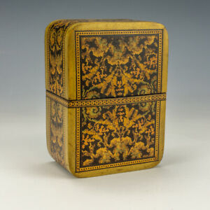 Vintage Sorrento Ware Intricately Inlaid Olive Wood Playing Card Box - Unusual!