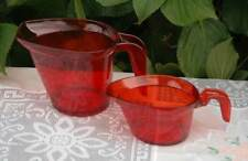 TUPPERWARE RED MICRO MICROWAVE PITCHER JUG SET OF TWO