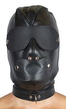 """Slave Hood With Removable Blindfold and Mouth Piece Genuine Leather """"NEW"""""""