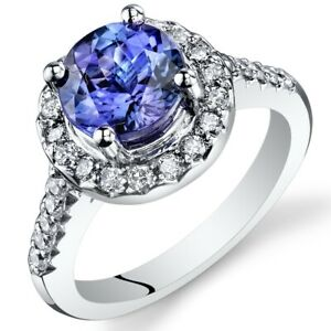 3.13 Carats Round Cut Tanzanite Diamond Ring in 14Kt White Gold Size 7