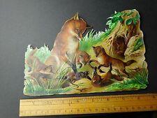 Fabulous Big Fox & Pups Den Cute Catching Rat Victorian Die Cut Superb L3