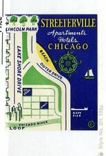 Vintage Poster Stamp Label STREETERVILLE Apartments Hotels CHICAGO map lake