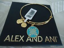 Alex and Ani ARROWS OF FRIENDSHIP Yellow Gold Charm Bangle New W/Tag Card & Box