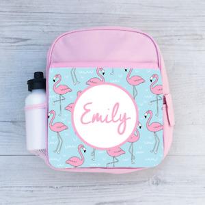Personalised Pink Flamingo, Girls Kids Backpack, Children's School Bag