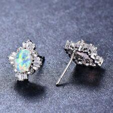 Engagement Gift White Fire Opal Titanic Ocean Blue Topaz Silver Stud Earrings
