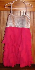 FLOWERS BY ZOE GIRLS SIZE LARGE 10/12 GORGEOUS SILVER/PINK PARTY DRESS NWT