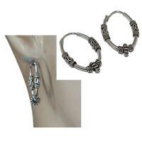 Boucles d'oreilles ethniques en argent massif 925 anneaux créoles ovales bijou