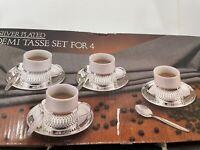 Godinger Silver Plated Demi Tasse Set Of 4 Paul Revere Silversmith 1987/ Coffee