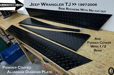 Jeep Wrangler TJ Powder Coated Diamond Plate no cut out Rockers & Fender Bends