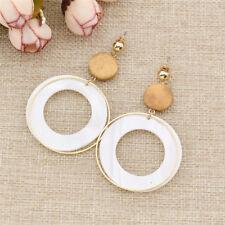 Circle Empty Ring Pearl Wood Earring Round Dangle Stud Ear Pendants Girls Gift