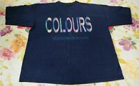 Vintage 90s Colours By Alexander Julian Men's T Shirt Navy XL Hipster Spellout