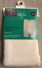 """New RE STYLE ROOM ESSENTIALS 84"""" Long 60"""" Wide White Window Sheer Panels (2)"""