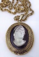 Vintage Whiting and Davis? Clear Lucite Black Cameo Pendant Necklace Gold Tone