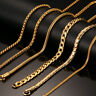 """24"""" Long Chain Necklace With """"K18"""" Stamp Snake Link Stainless Steel Gold Color"""