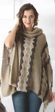 NWT Sacred Threads  Hand Knit Acrylic Roll Up Collar Poncho Sweater Jacket L
