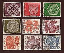 SWITZERLAND, 9 1974-77 Handicrafts, Folk Customs +Stamps, Used, See Descr FUS538