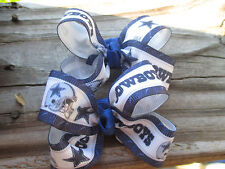 "Hair Bows a pair of Med  2"" Dallas Cowboys Grossgrain Hair Bow center knot USA"