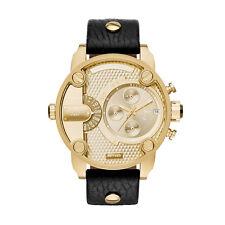 Diesel DZ7363 Herren Schwarz Leder Armband Gold Edelstahl Uhr