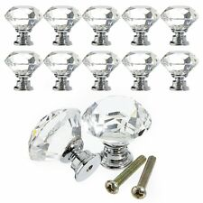 10pcs 30mm Crystal Glass Door Knobs Drawer Cabinet Furniture Kitchen Handle