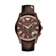 Emporio Armani AR1609 brown  Strap wine Dial Chronograph Wrist Watch for Mens