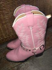 """Durango BT568 Girl's Size 13.5 Rhinestone Pink 8"""" Western Cowboy Kids Boots"""