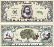 100 Massachusetts MA State Quarter Novelty Bills Lot