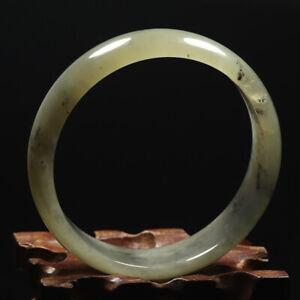 60mm Certified Grade A 100% Natural Black Green Xiu Jade Bangle Bracelet 58964